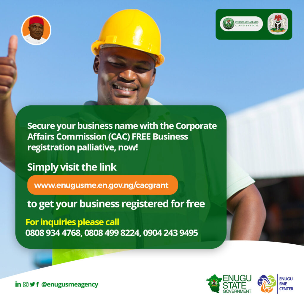 FREE 6,606 CAC BUSINESS NAMES REGISTRATION FOR MSMEs In Enugu State
