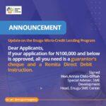 Update on the Enugu Micro-credit Lending program